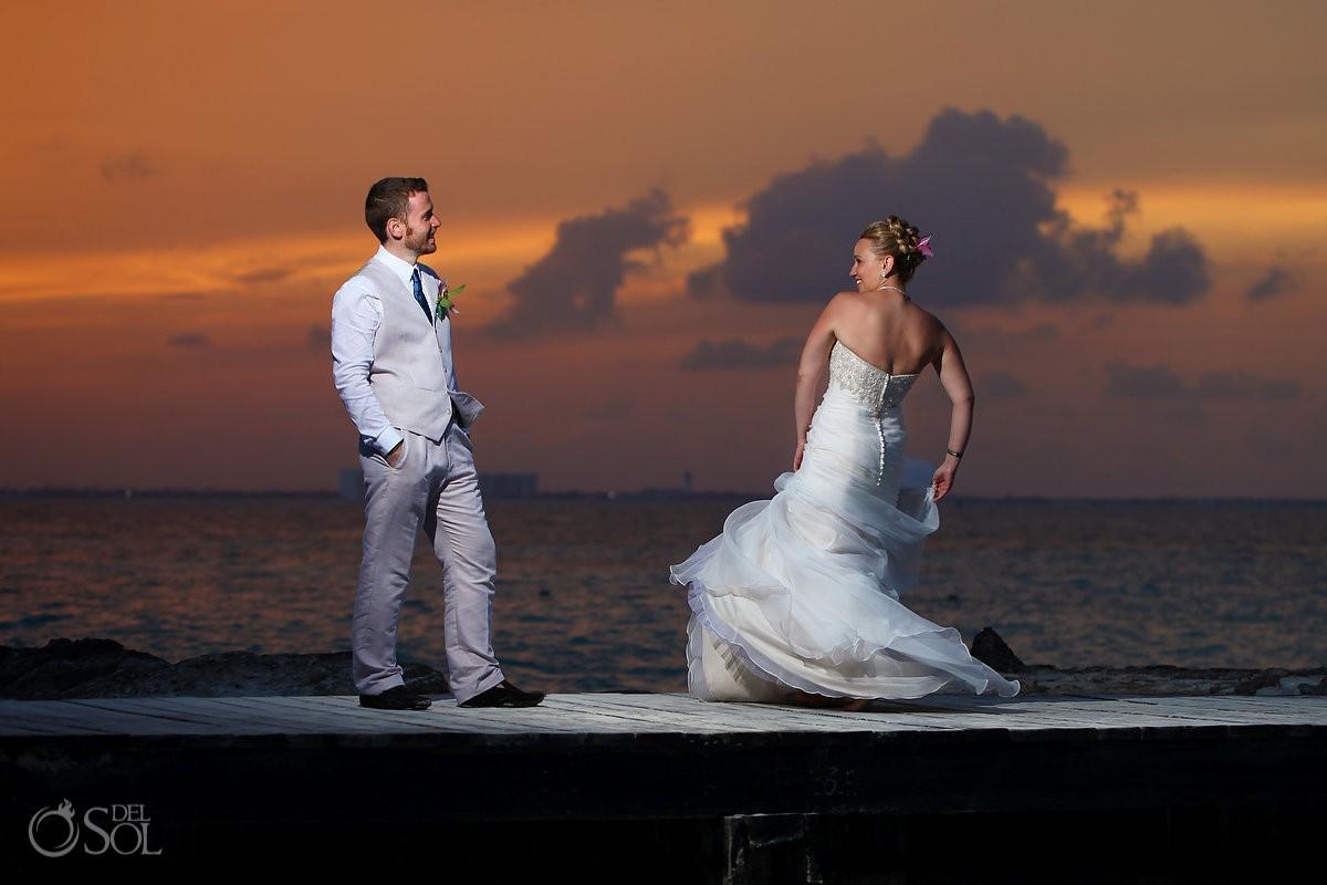 Sunset Wedding Portrait Hotel Riu Palace Las Americas, Cancun, Mexico.