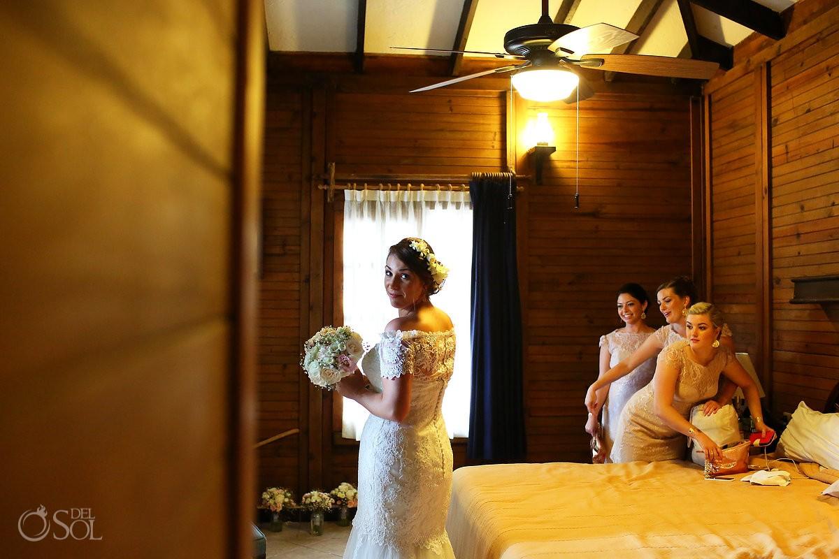 Bride getting ready at Capitan Lafitte