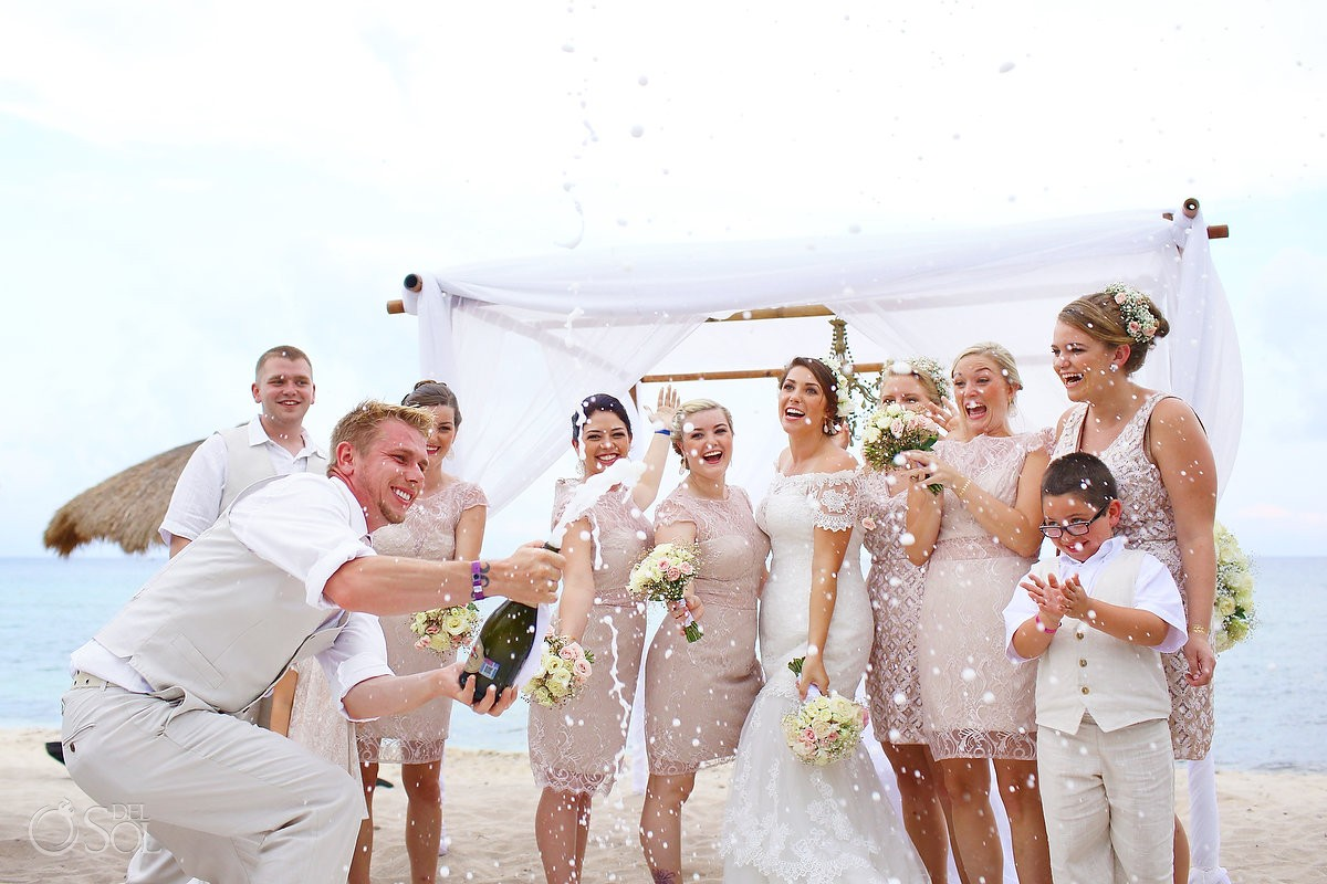 Champagne Wedding Party Romantic Boho Wedding at Blue Venado Beach Club Playa del Carmen Mexico