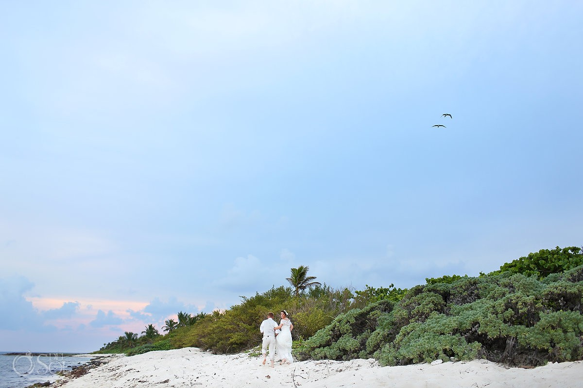 Bride and Groom Portraits at Blue Venado Beach Club Playa del Carmen Mexico