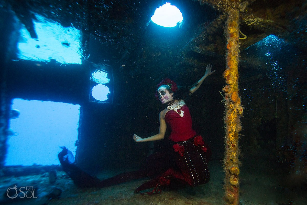 Mermaid Catrina inside a shipwreck, Day of the Dead underwater fine art photography Cancun, Mexico.