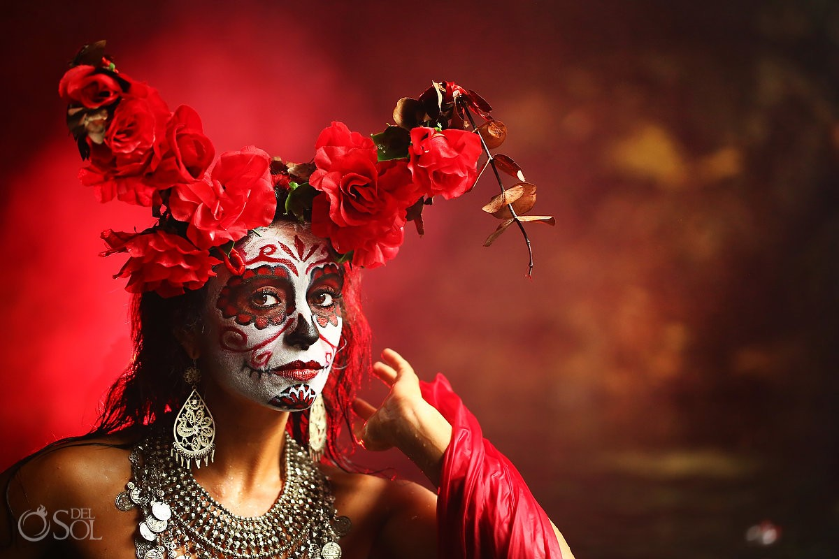 Red Mermaid Catrina Day of the Dead fashion photography dia de los muertos