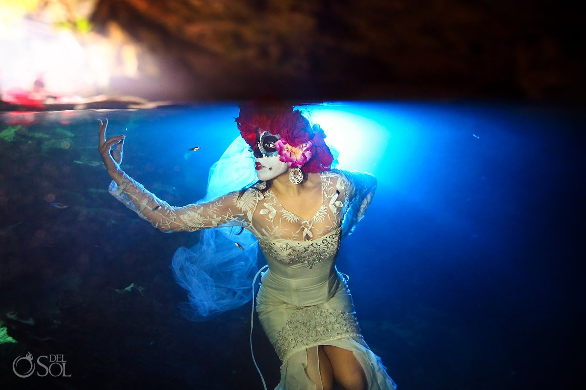 Corpse Bride Skeleton Catrina, Day of the Dead underwater fashion photography Cancun, Mexico.