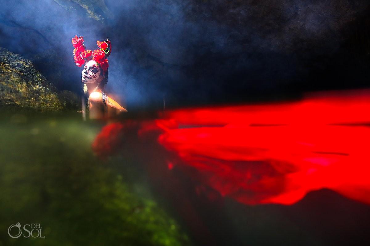 Mermaid Catrina sexy Day of the Dead cenote fashion photography Riviera Maya, Mexico.