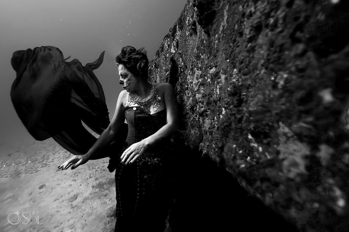 Mermaid Catrina outside an ocean shipwreck, Day of the Dead underwater fine art photography Cancun, Mexico.