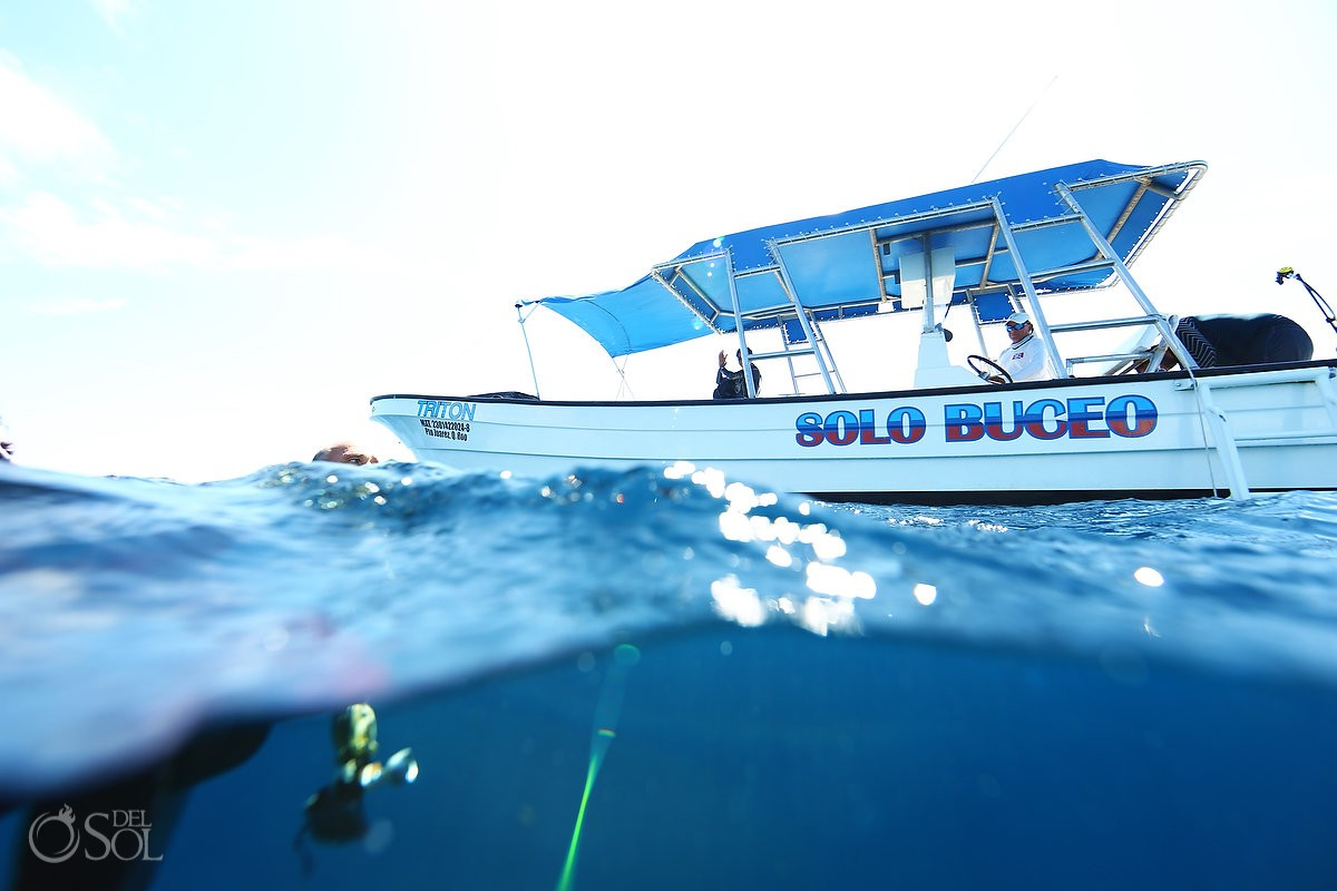 Solo Buceo diving boat with mermaid model Cancun, Mexico