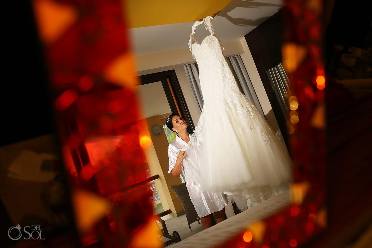 bride getting ready, wedding dress by Bellamore