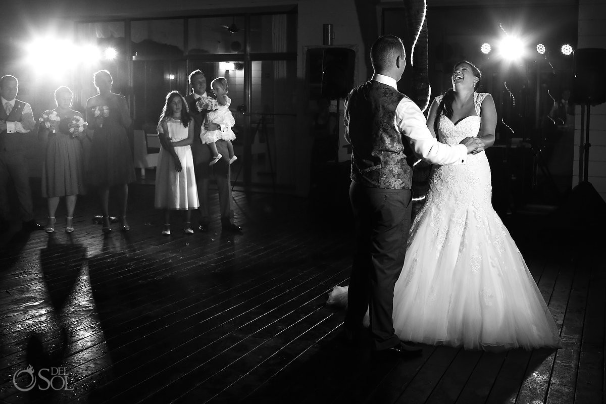 bride and groom's first dance wedding reception at Grand Coral Beach Club