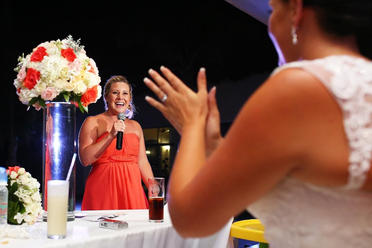 bridesmaid speech during wedding reception at Grand Coral Beach Club