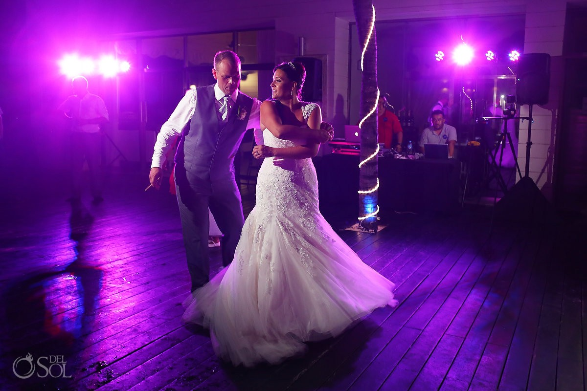 bride and groom dancing, wedding reception at Grand Coral Beach Club