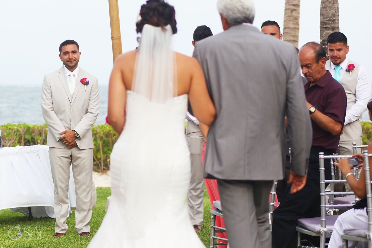 First look of Bride and groom at Ocean Coral and Turquesa, Puerto Morelos