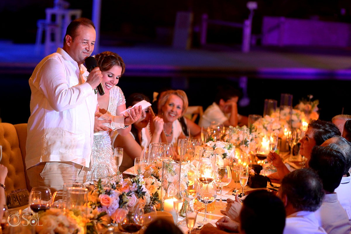 bride and groom speeches for a wedding reception at Omni Puerto Aventuras Beach Resort, Mexico