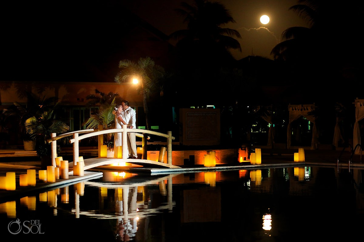 Full moon during for a bride and groom portrait at Omni Puerto Aventuras Beach Resort, Mexico