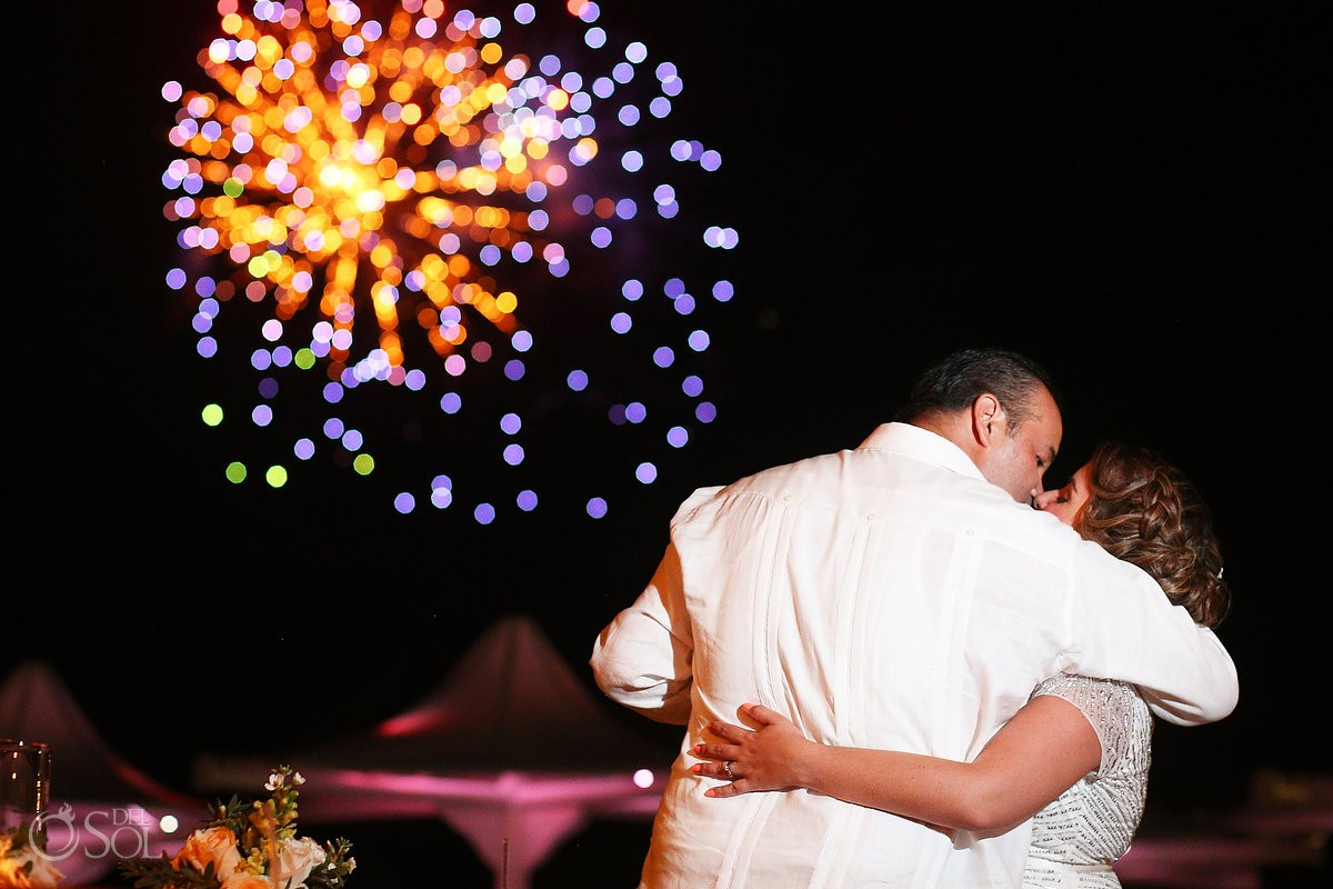 fireworks during a wedding recption at Omni Puerto Aventuras Beach Resort, Mexico