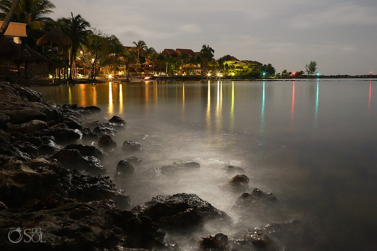 nighttime Landscape photograph of the ocean at Omni Puerto Aventuras Beach Resort, Mexico