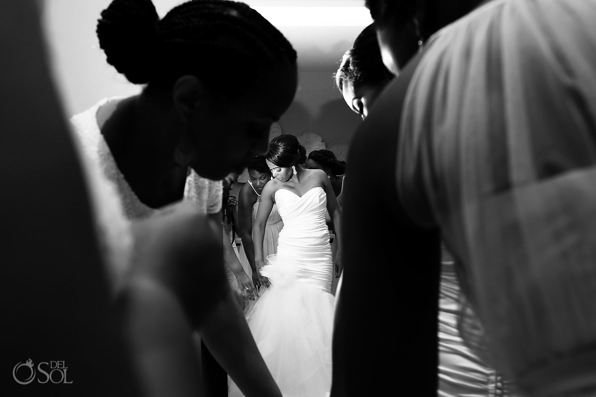 Bridal by Lori wedding dress with bride getting ready at Secrets Playa Mujeres, Cancun, Mexico