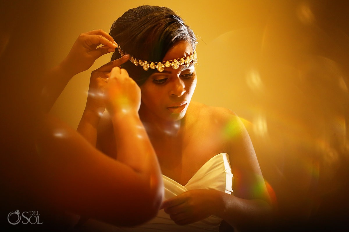 bohemian crown on bride getting ready at Secrets Playa Mujeres, Cancun, Mexico
