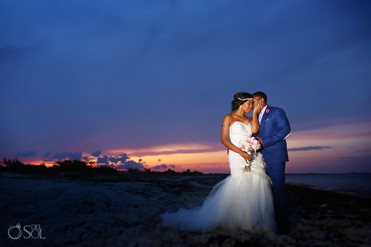 bride and groom portrait at Secrets Playa Mujeres, Cancun, Mexico
