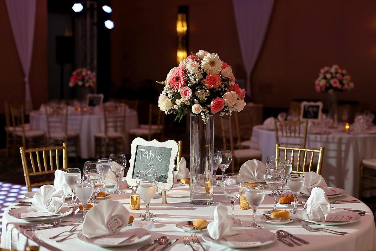 Ballroom wedding reception setup at Secrets Playa Mujeres, Cancun, Mexico