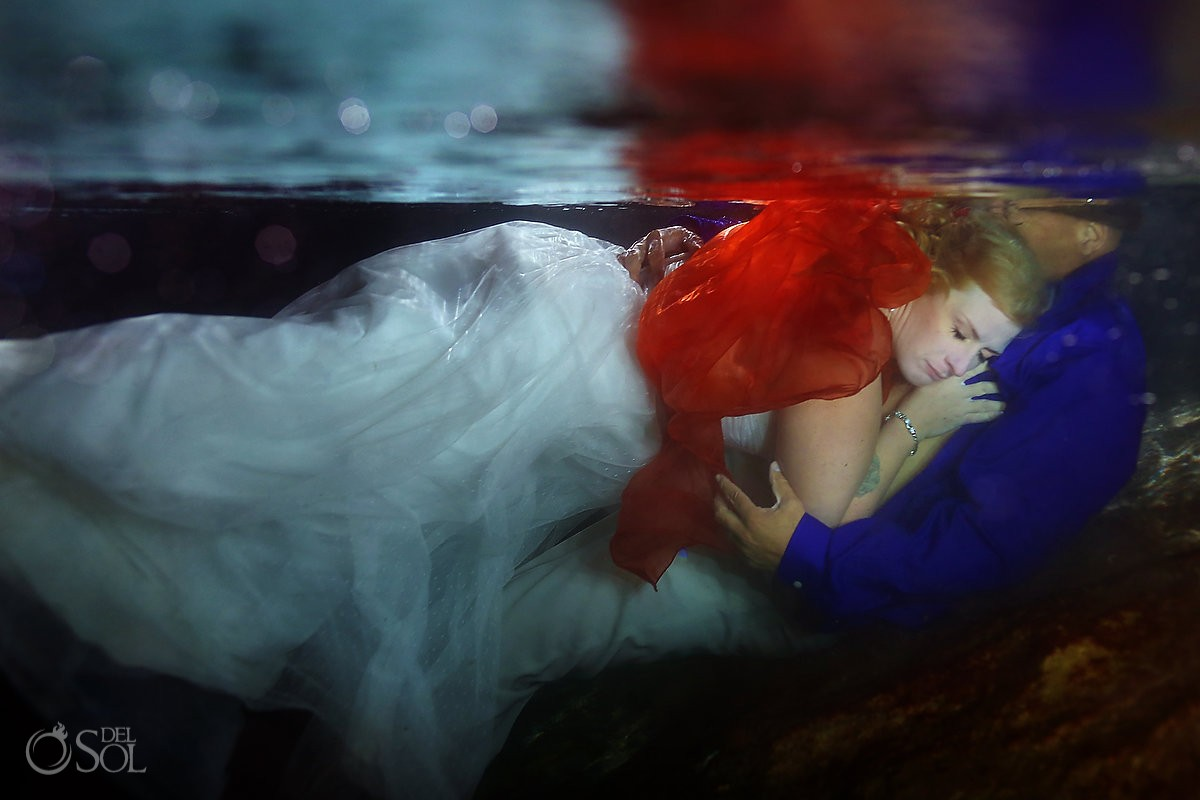 mermaid bride in the underground cave for the trash the dress session