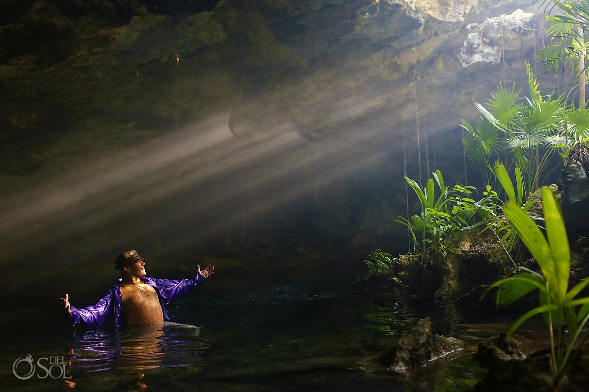 Copal smoke in the cenote for a trash the dress session