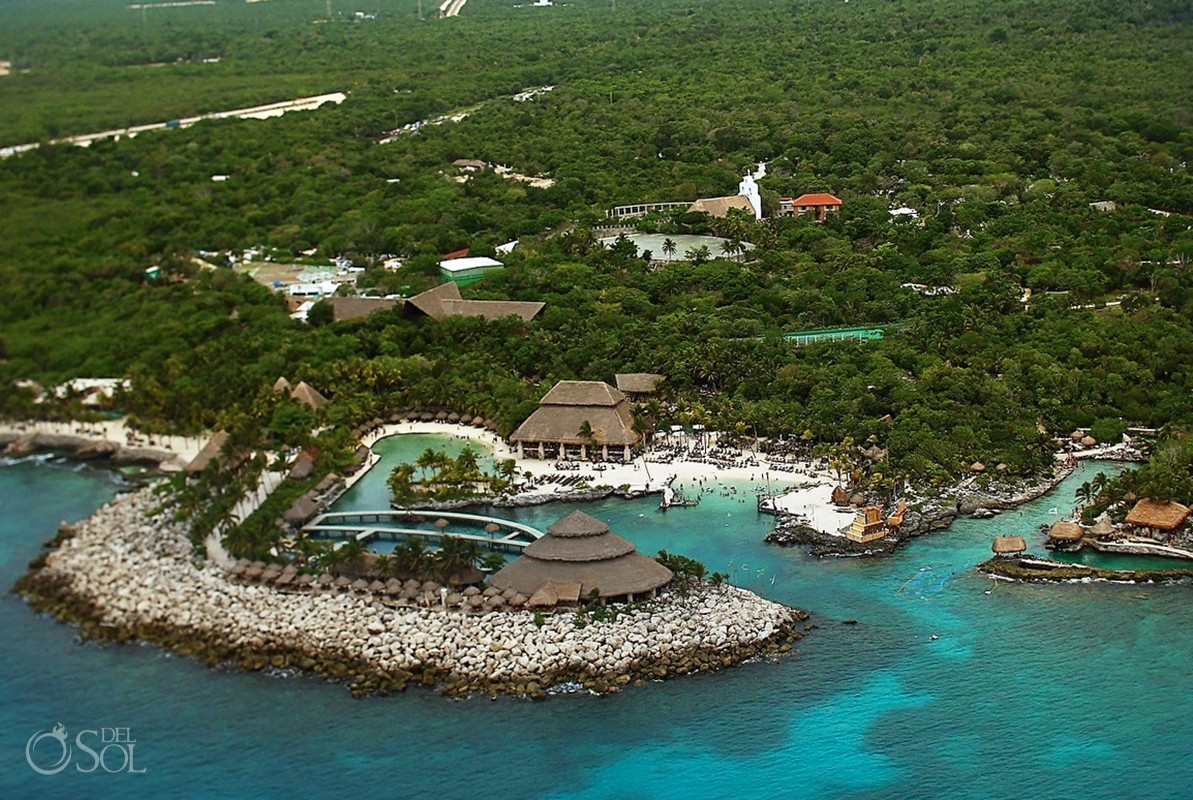 Aereal drone photographs of Xcaret Theme Park, Playa del Carmen, Mexico