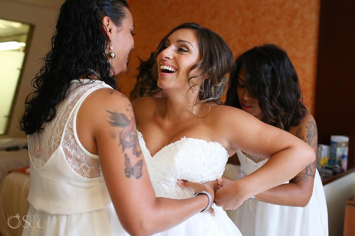 Bride getting ready Wedding at Grand Sirenis Riviera Maya, Mexico.