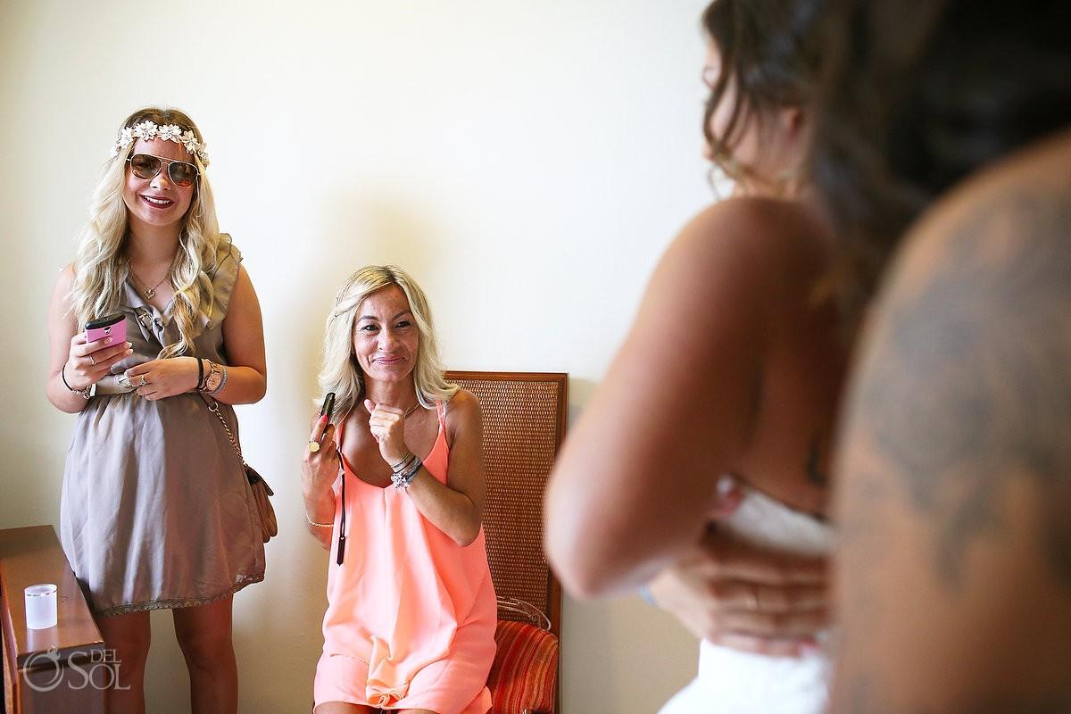 Guests watching Bride getting ready Wedding at Grand Sirenis Riviera Maya, Mexico.