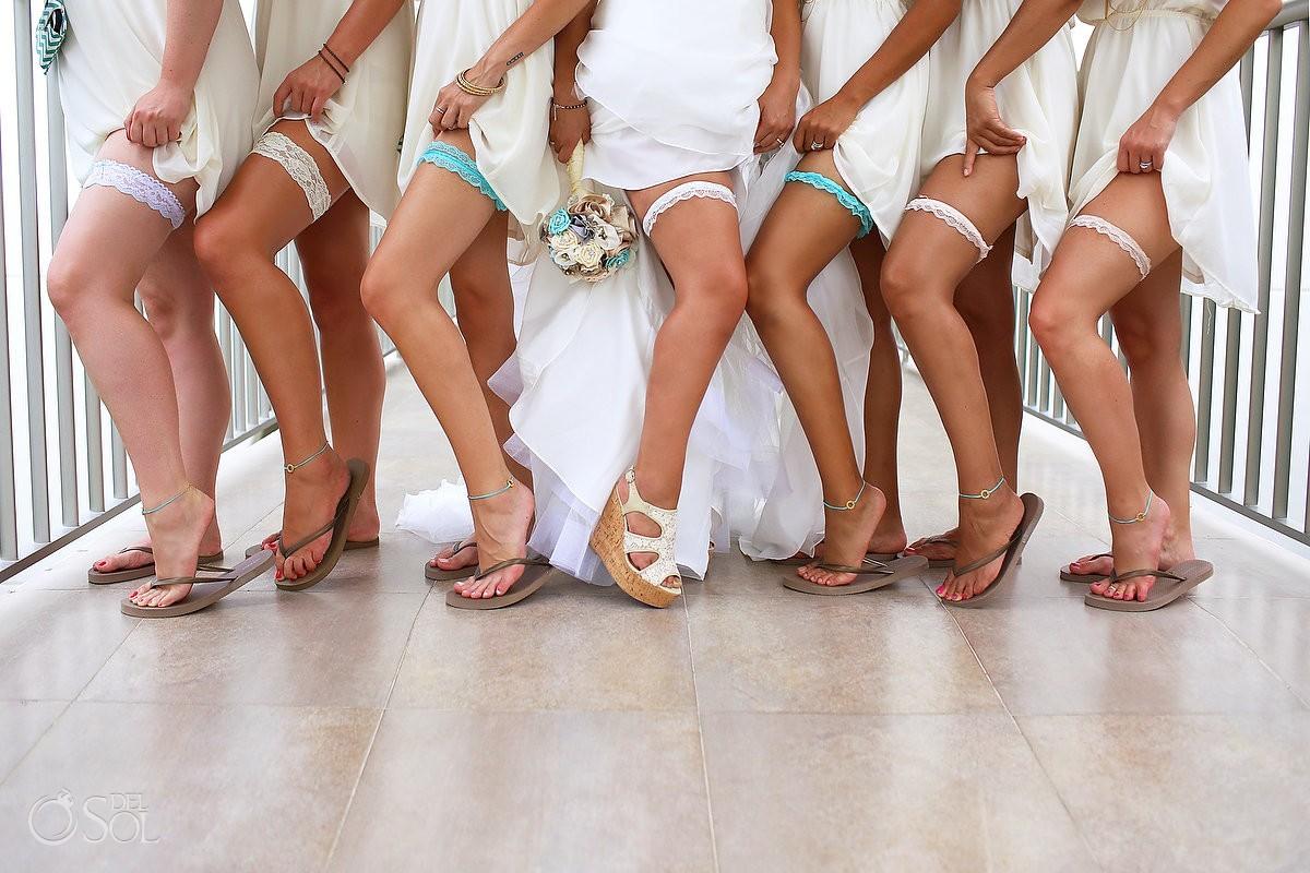 Fun wedding party bridesmaids idea matching garters Grand Sirenis, Riviera Maya, Mexico.