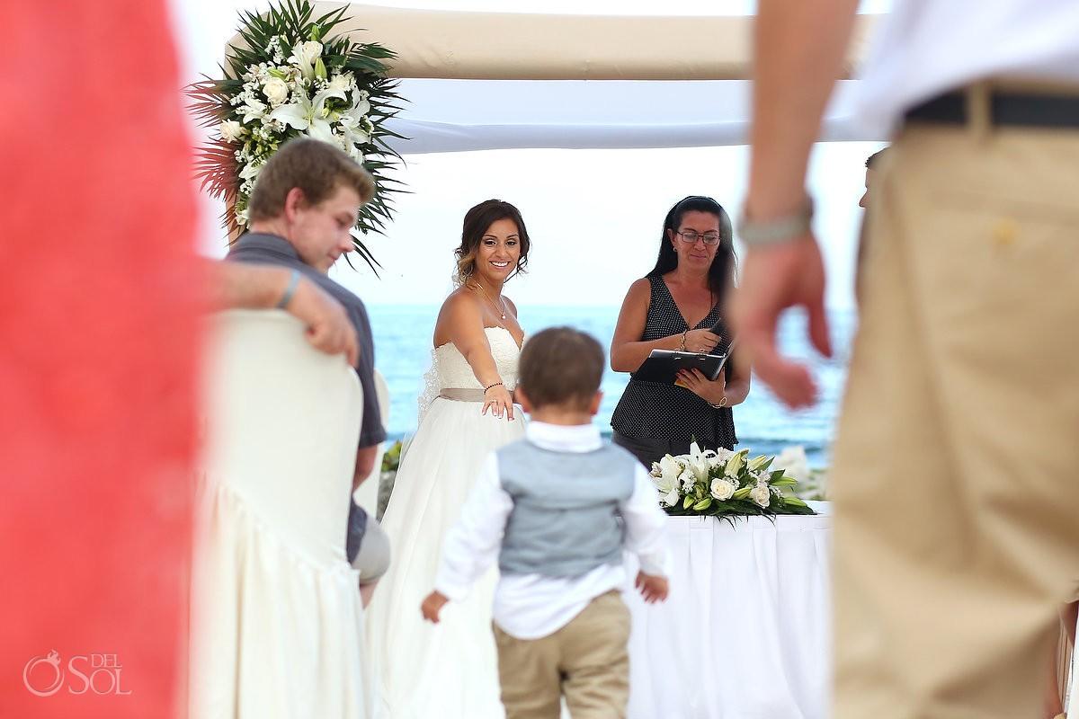 Kids invade beach Wedding at Grand Sirenis Riviera Maya, Mexico.