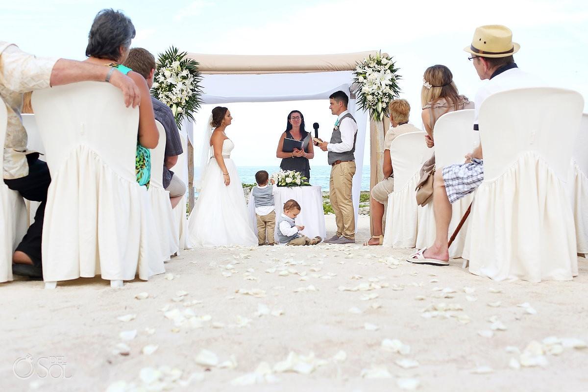Kids aisle beach Wedding at Grand Sirenis Riviera Maya, Mexico.