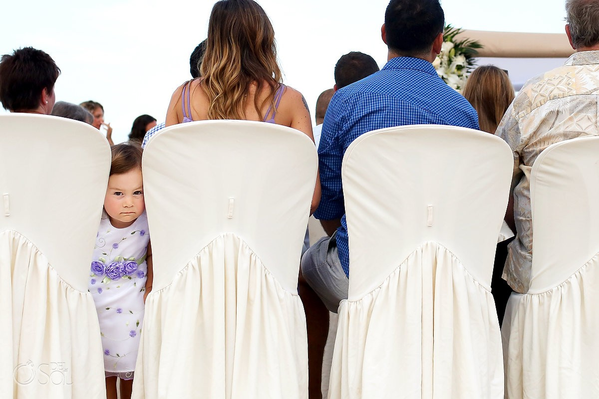 cute kid beach Wedding at Grand Sirenis Riviera Maya, Mexico.