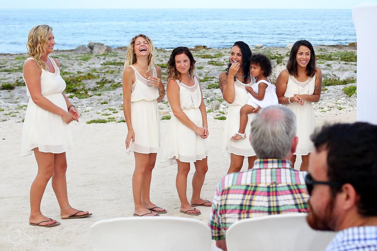bridesmaids wedding party laughing beach Wedding at Grand Sirenis Riviera Maya, Mexico.
