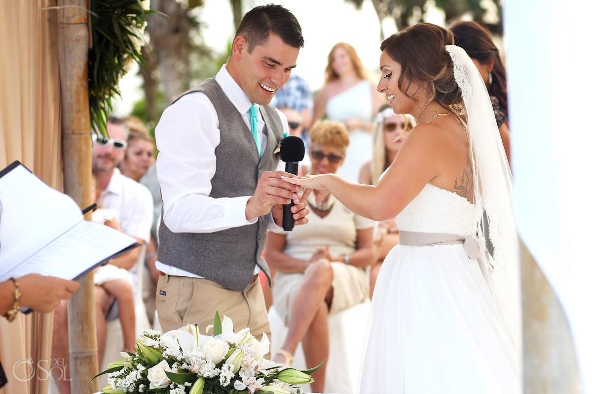 ring exchange beach Wedding at Grand Sirenis Riviera Maya, Mexico.