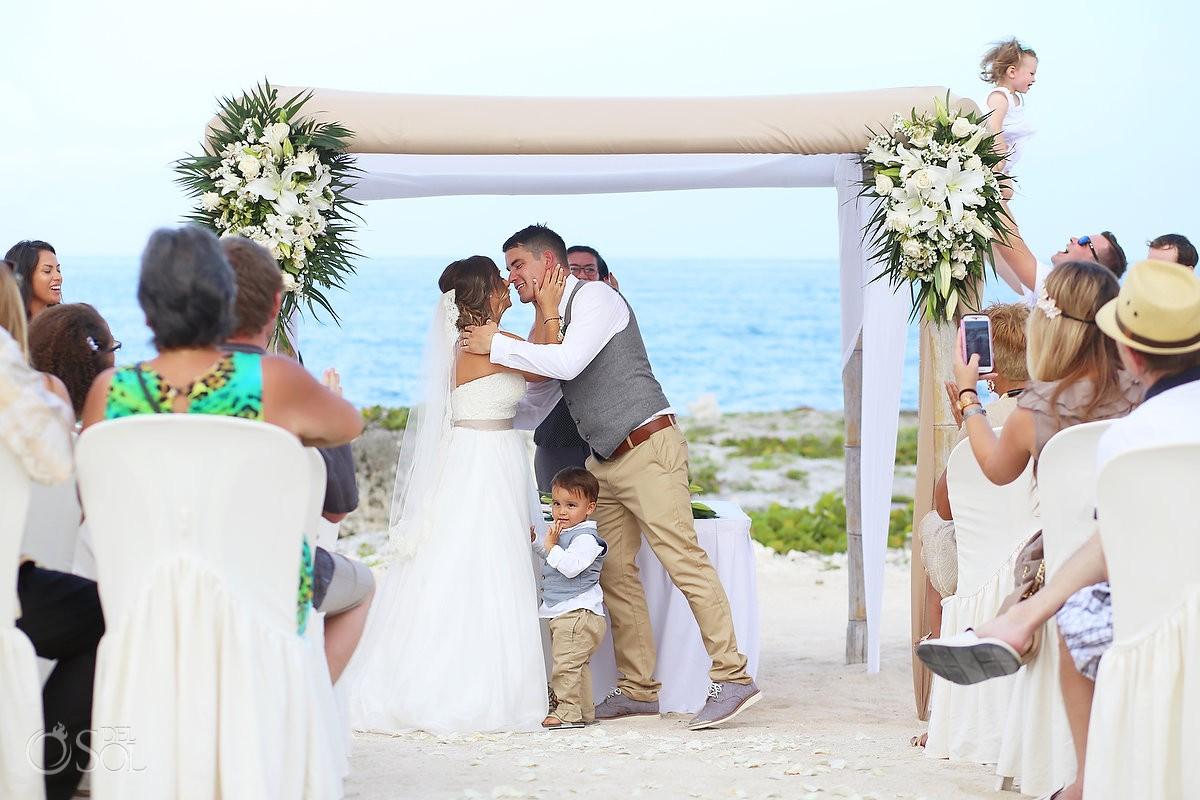 first kiss beach Wedding at Grand Sirenis Riviera Maya, Mexico.