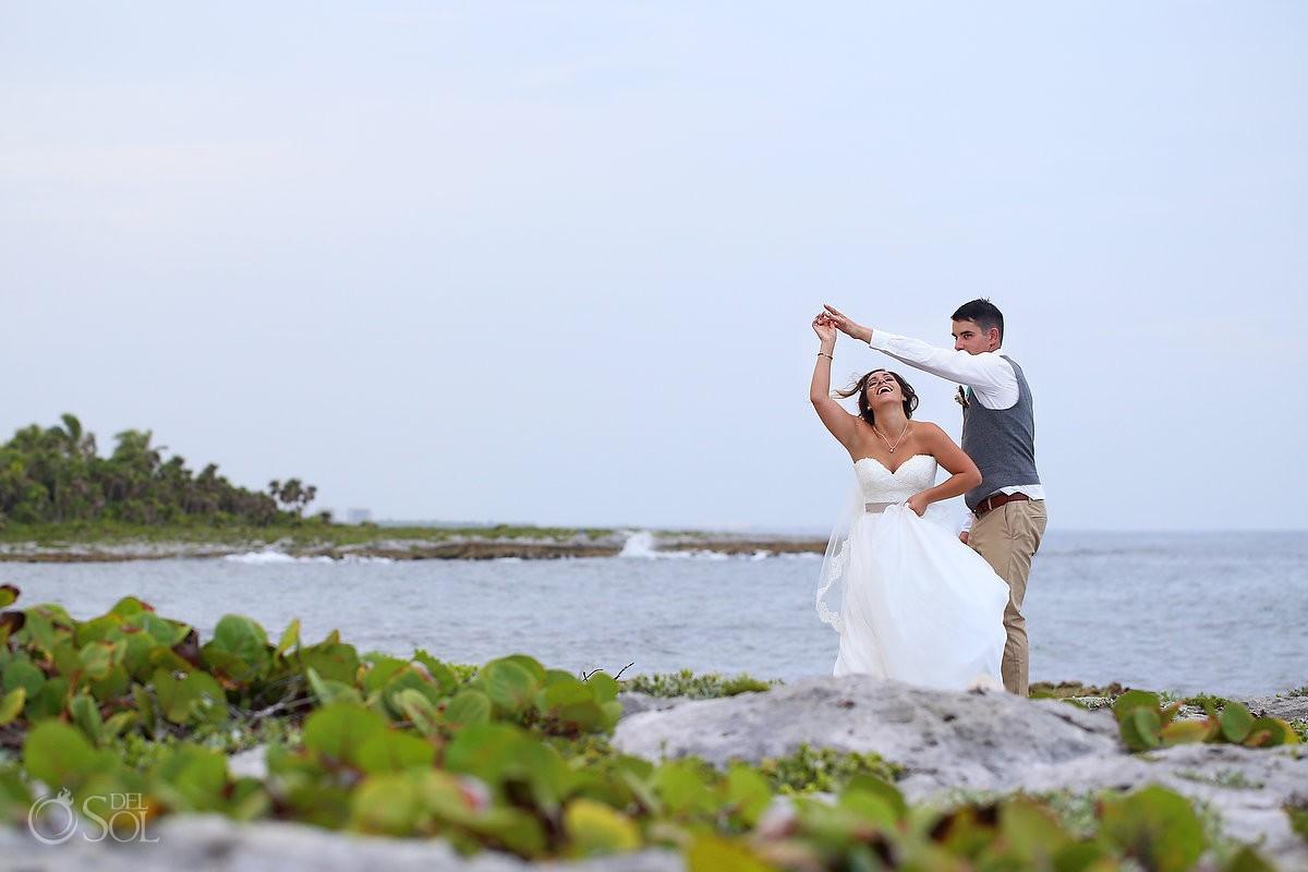 Bride groom wedding portrait beach Wedding at Grand Sirenis Riviera maya, Mexico