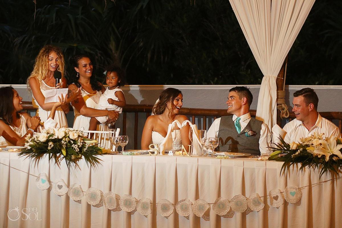 beach Wedding reception at Grand Sirenis Riviera maya palapa, Mexico