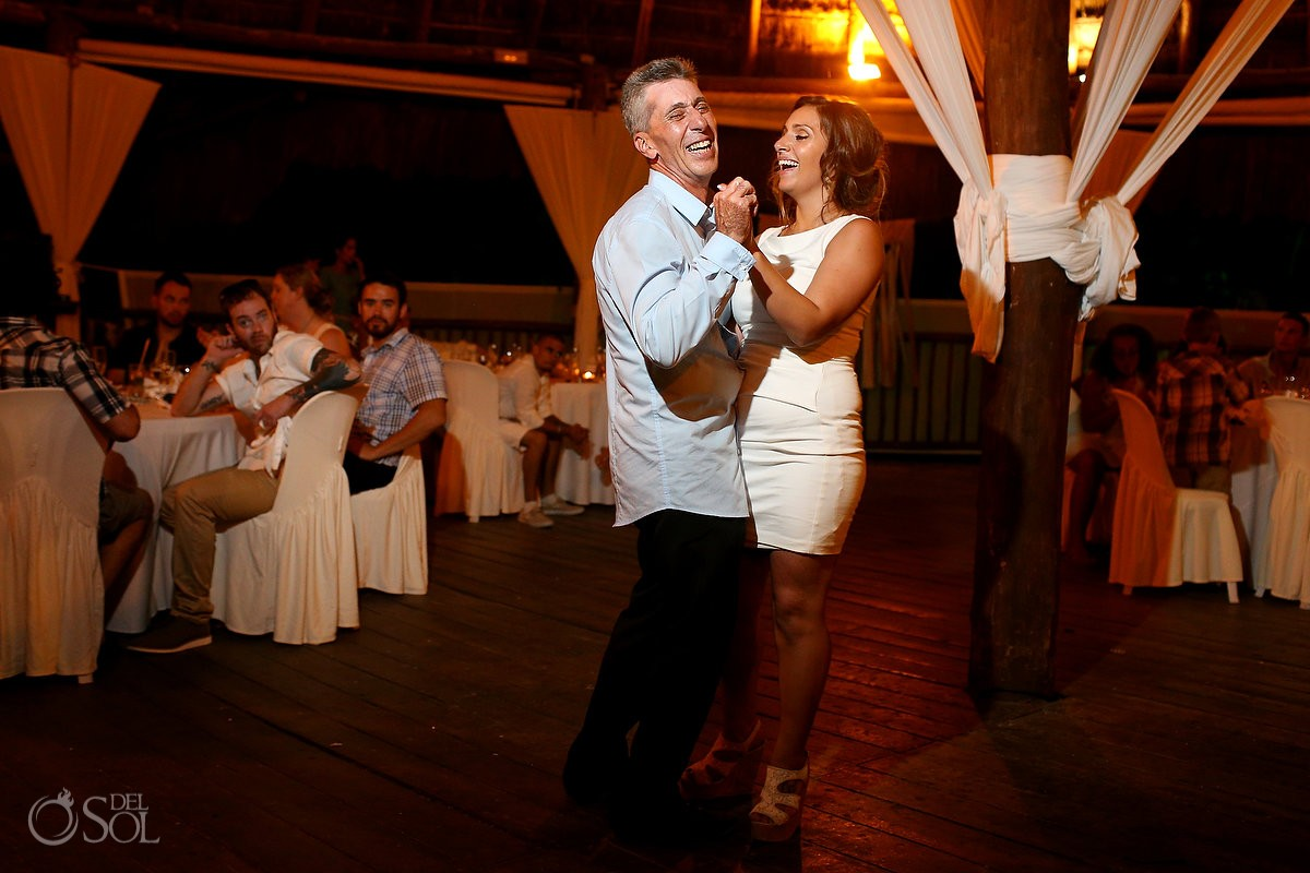 father daughter dance, beach Wedding reception at Grand Sirenis Riviera maya palapa, Mexico