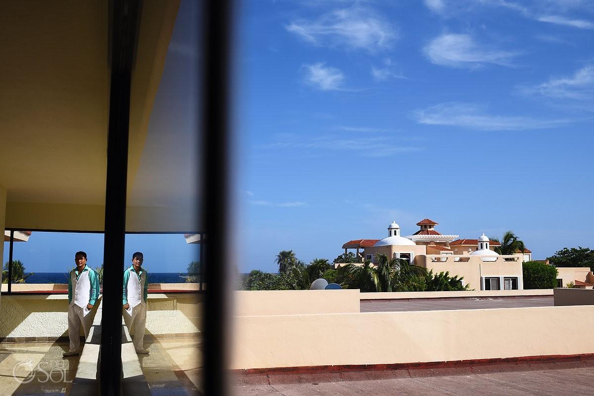Groom Portrait Wedding at Dreams Puerto Aventuras, Riviera Maya, Mexico