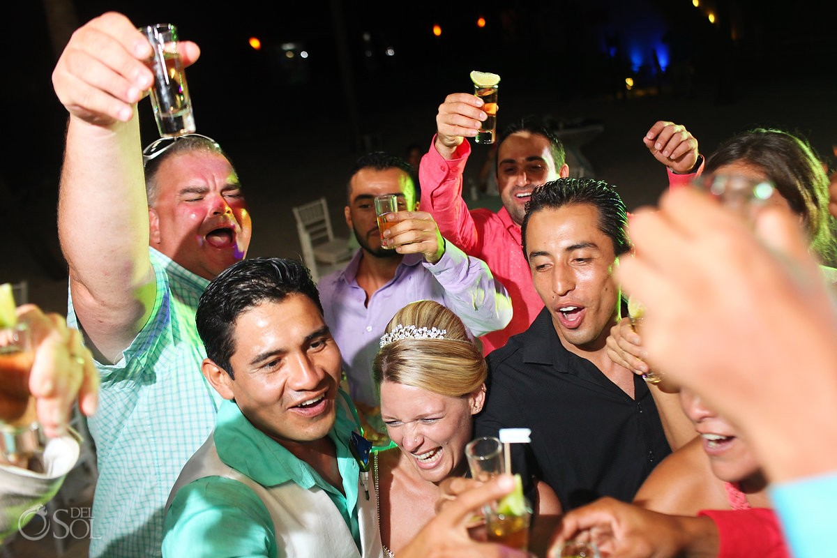 Tequila shot party Wedding Reception Dreams Puerto Aventuras, Riviera Maya, Mexico