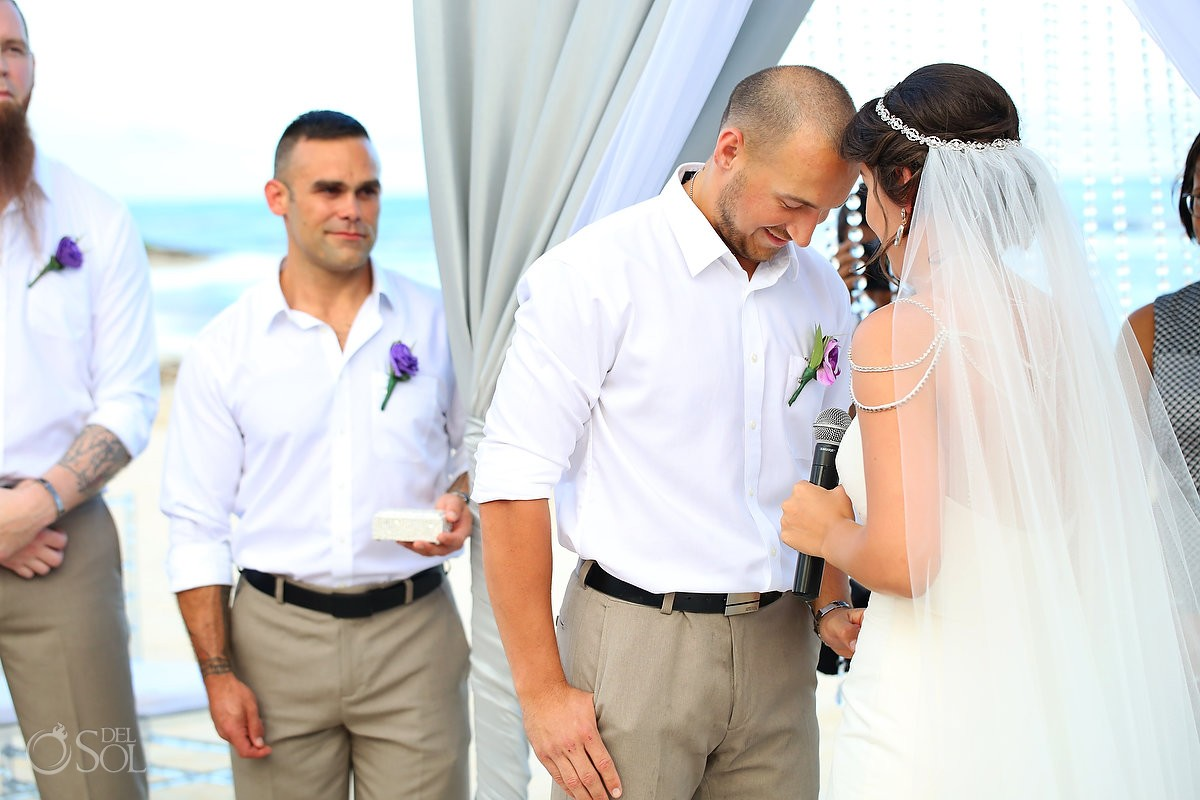 Wedding ceremony sweet moment Grand Coral Beach Club, Playa del Carmen, Mexico
