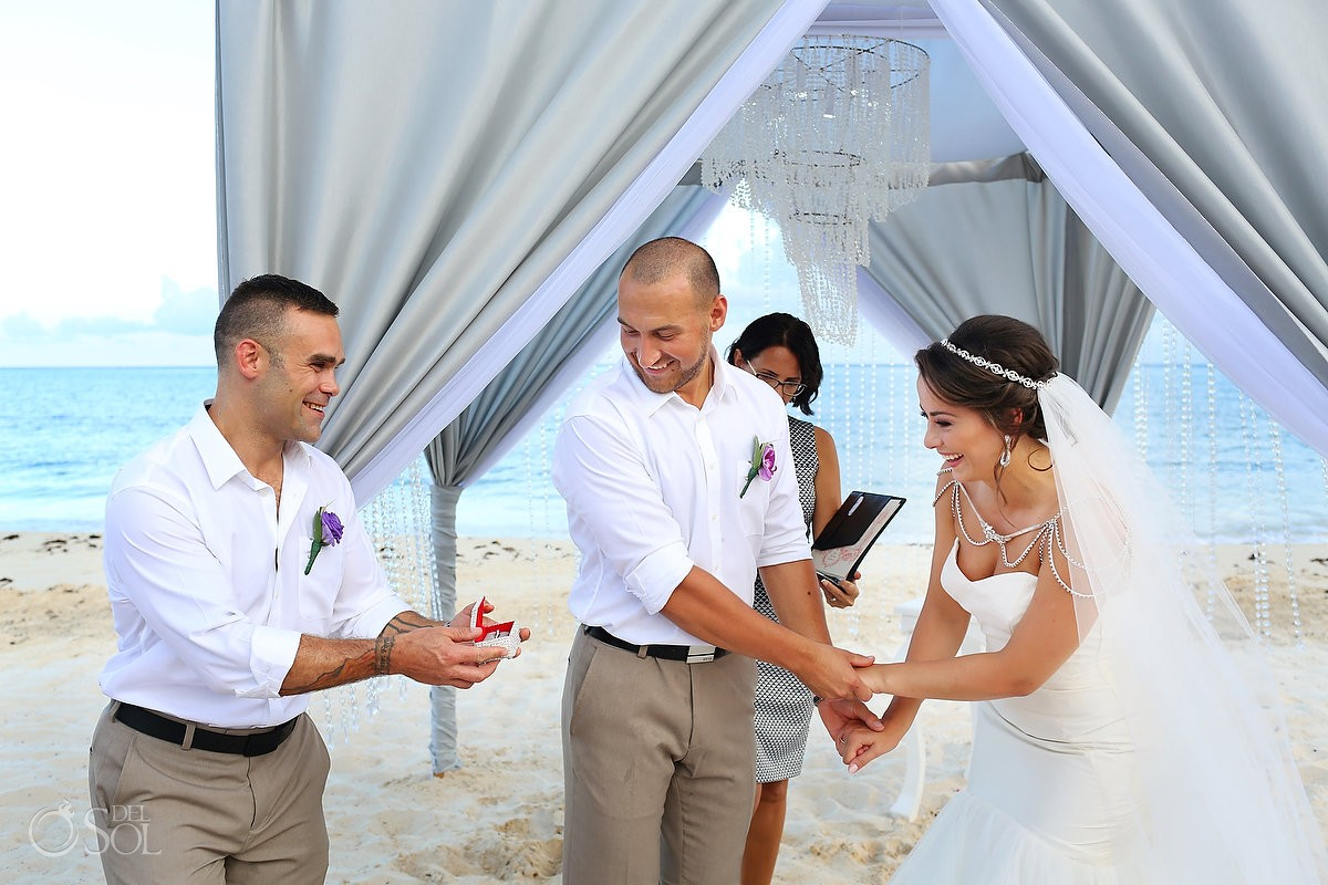 Wedding ring beach ceremony Grand Coral Beach Club, Riviera Maya, Mexico