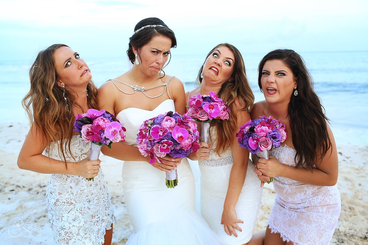 Bride bridesmaid fun idea beach portrait