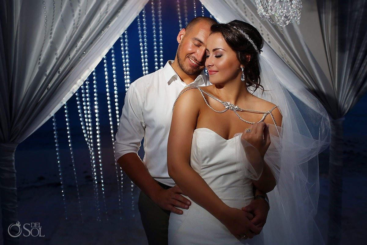 Wedding night beach portrait crystal gazebo Grand Coral Beach Club Riviera Maya