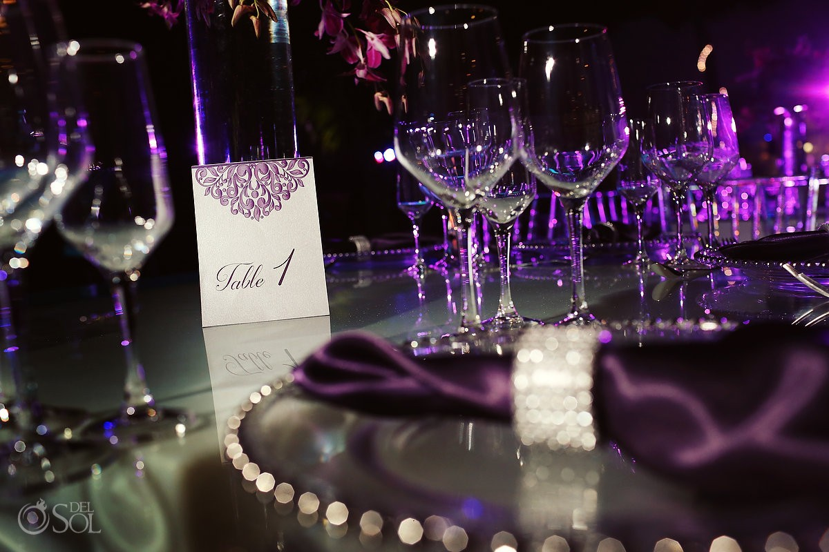 Glamorous purple table settings glass plates wedding reception Grand Coral Beach Club