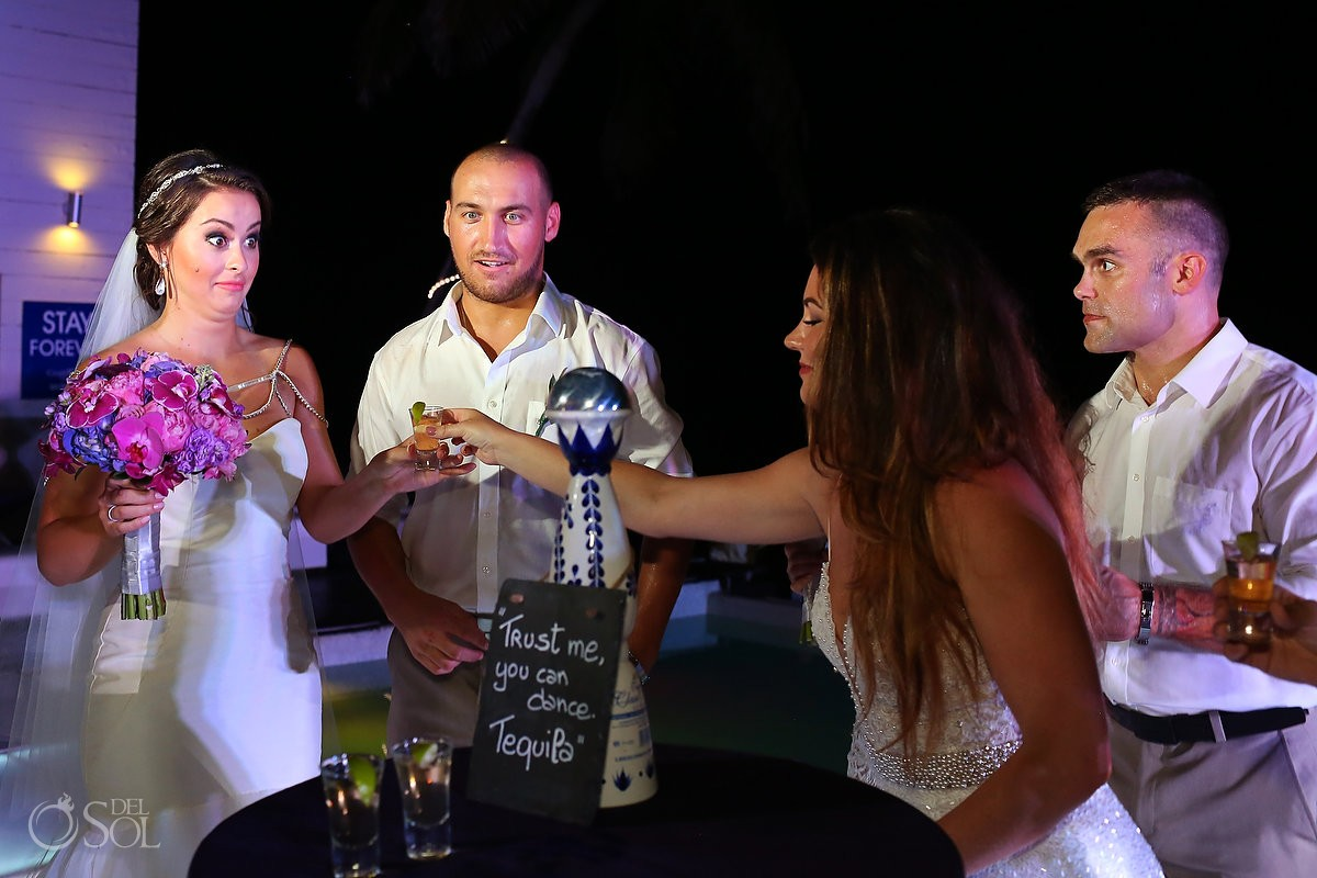 Tequila shots table wedding reception ideas Grand Coral Beach Club Riviera Maya