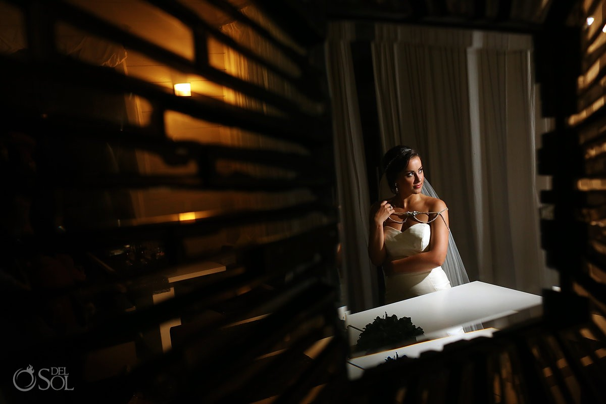Night Bride Portrait Grand Coral Beach Club Riveira Maya