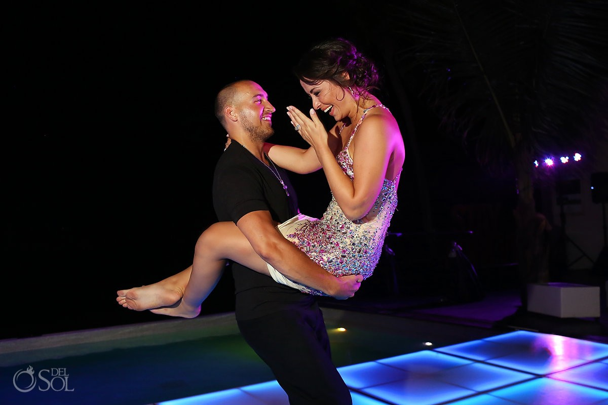 First dance lit LED floor Grand Coral Beach Club Playa del Carmen