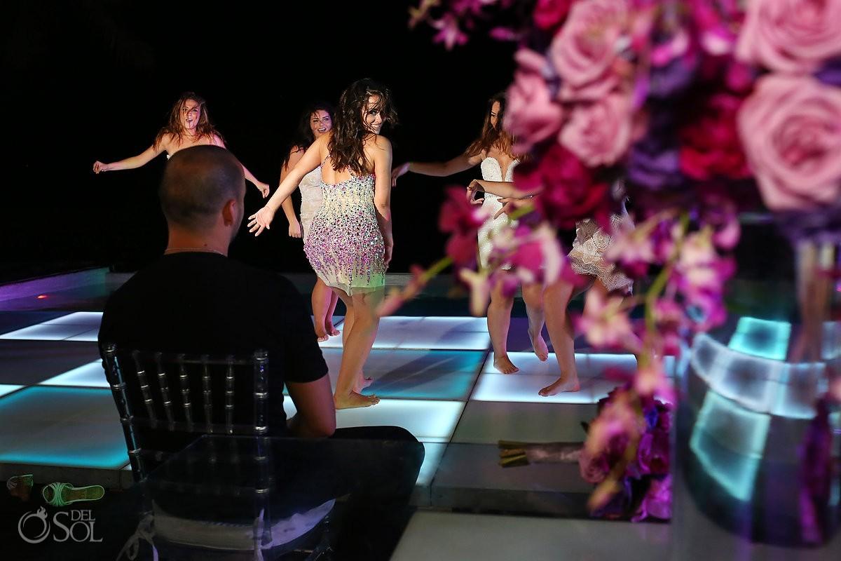 Wedding Reception lit dance floor Grand Coral Beach Club Playa del Carmen