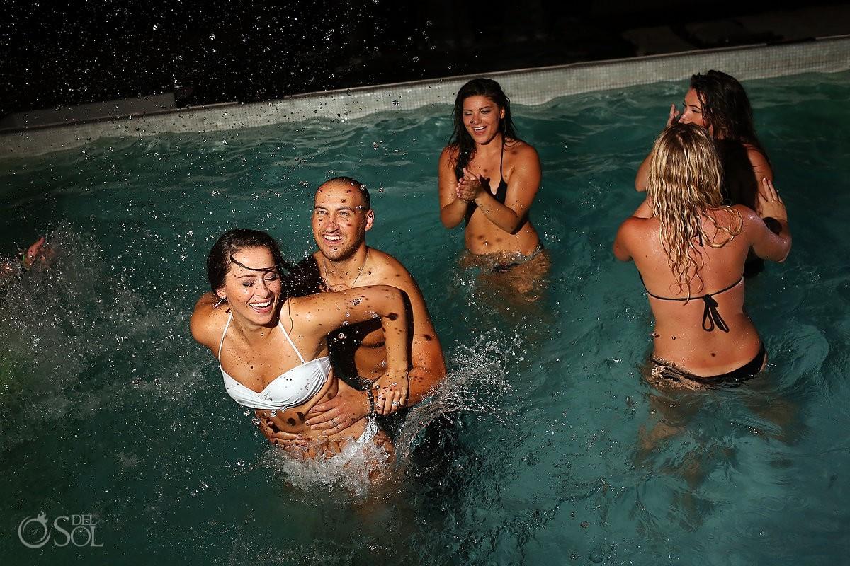 Wedding reception swimming pool party Grand Coral Beach Club Playa del Carmen